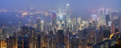 Skyline von Honkong bei Nacht