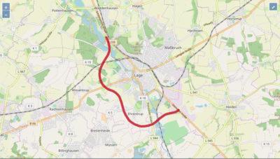 Karte: Verlauf der geplanten B239n um Lage