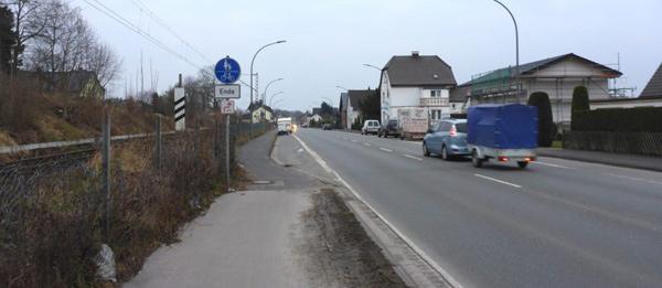 Radwegende an der Schötmarschen Straße