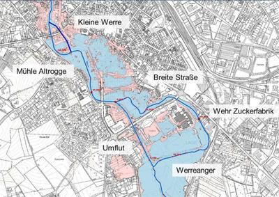 Plan: mögliche Hochwasserstände in Lage