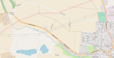 Karte der fehlenden Radwegstrecke zwischen Lage und Heiden