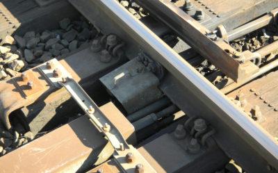 Nahaufnahme einer Eisenbahnweiche