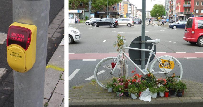 Bettelampel und weißes Fahrrad