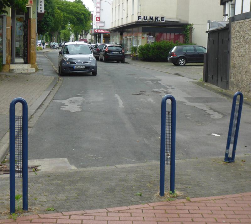 Engstelle am Beginn der Heidenschen Straße