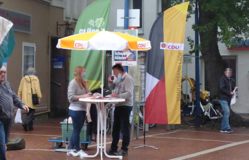 Stand der CDU im Wahlkampf 2020 in Lage