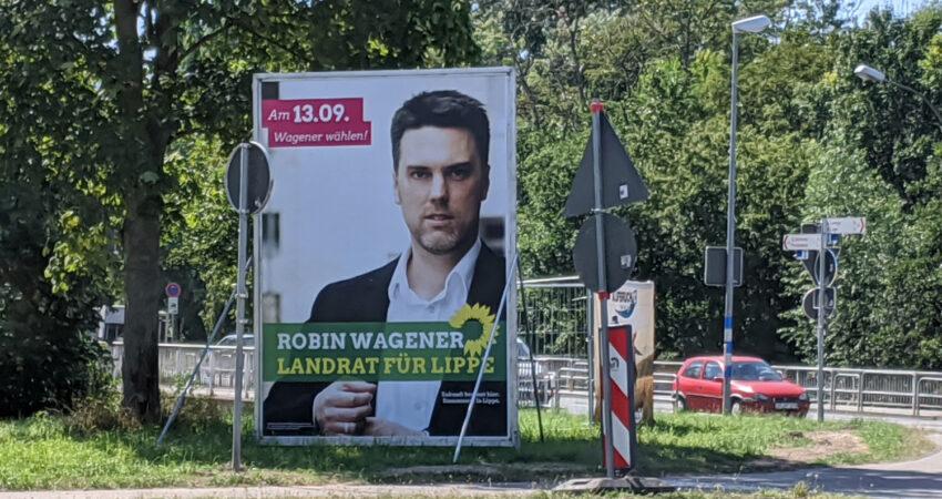 Grossplakat mit Robin Wagener - Landratskandidat der Grünen