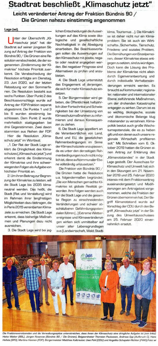 Artikel im Postillon zur Verabschiedenung des grünen Klimaschutzantrages im Rat