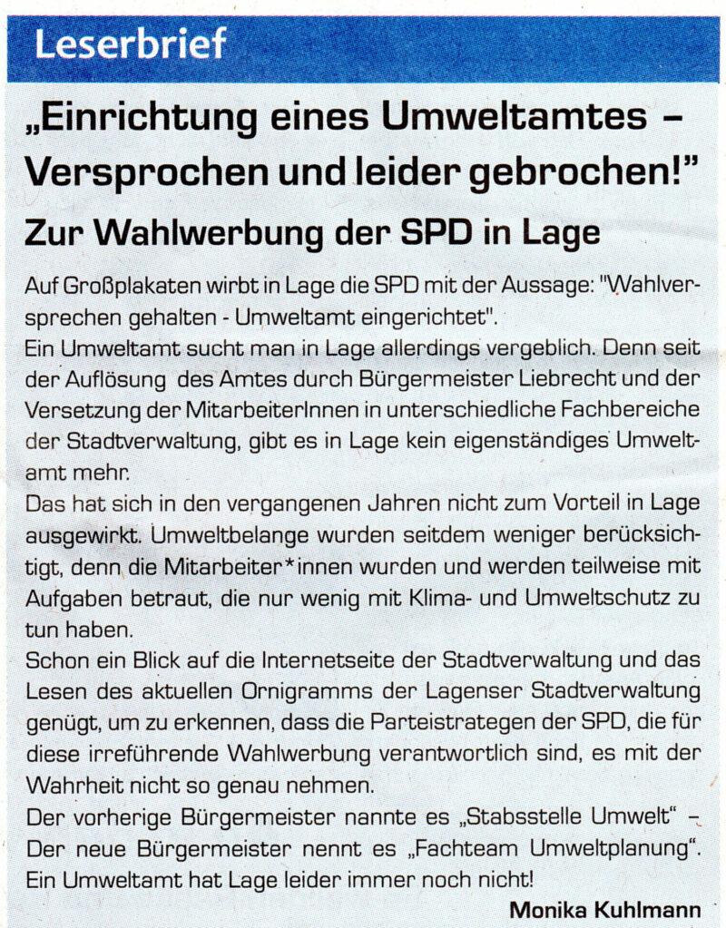 Leserbrief aus dem Postillon zu den übertriebenen Behauptungen der SPD Lage zur Wiedereinrichtung des Umweltamtes