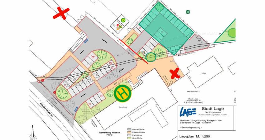 Entwurfsplanung zum Parkplatz am Sportplatz und Grundschule Müssen
