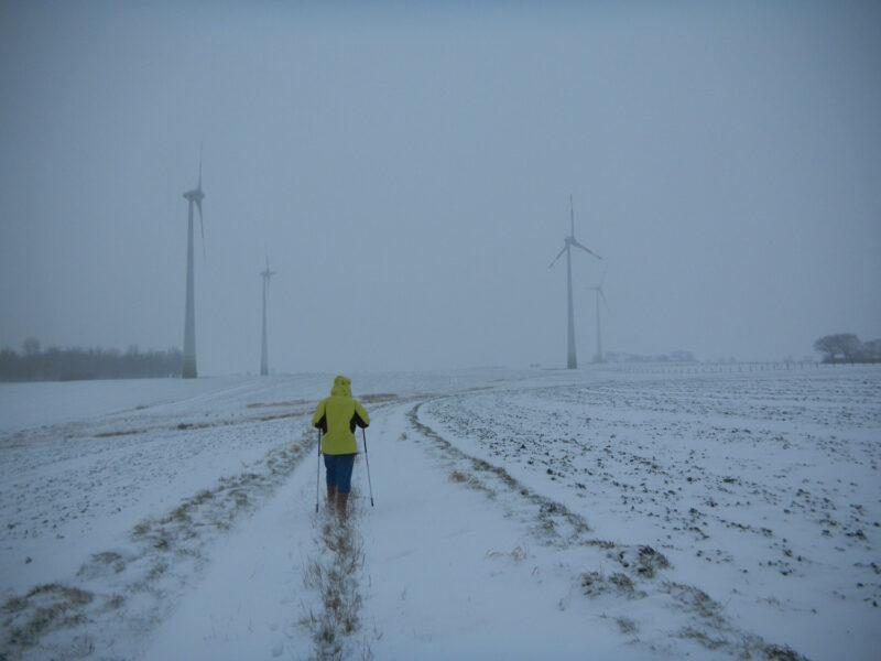 Windenergieanlangen in Nienhagen im Schnee