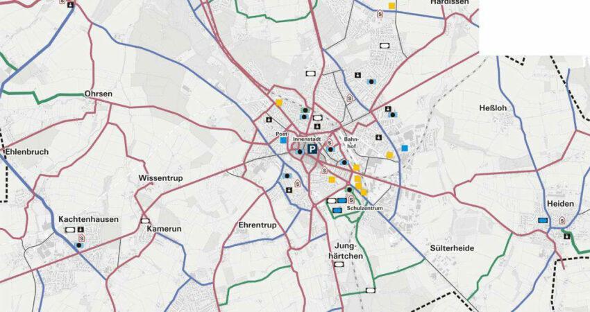 Radwegeverbindungen in Lage laut Verkehrsentwicklungsplan