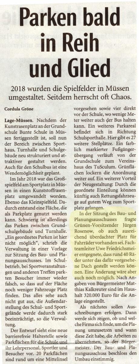 LZ-Artikel zum Parkplatz in Müssen