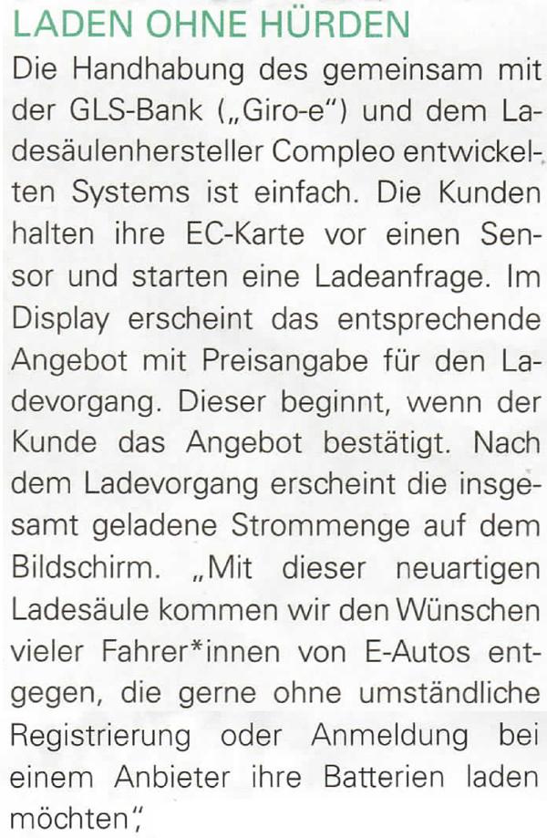 Ausschnitt einer Mitteilung von Westfalen-Weser zum Thema vereinfachte Ladesäulen