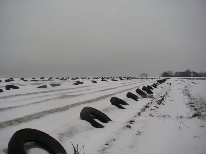 Zahlreiche Autoreifen in einem verschneiten Feld