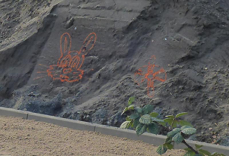 Bauarbeiter mit künstlerischer Ader - Auf der Lidlbaustelle (Westcarree) wurde diser Hase auf einen Erdhaufen gesprüht. Hase