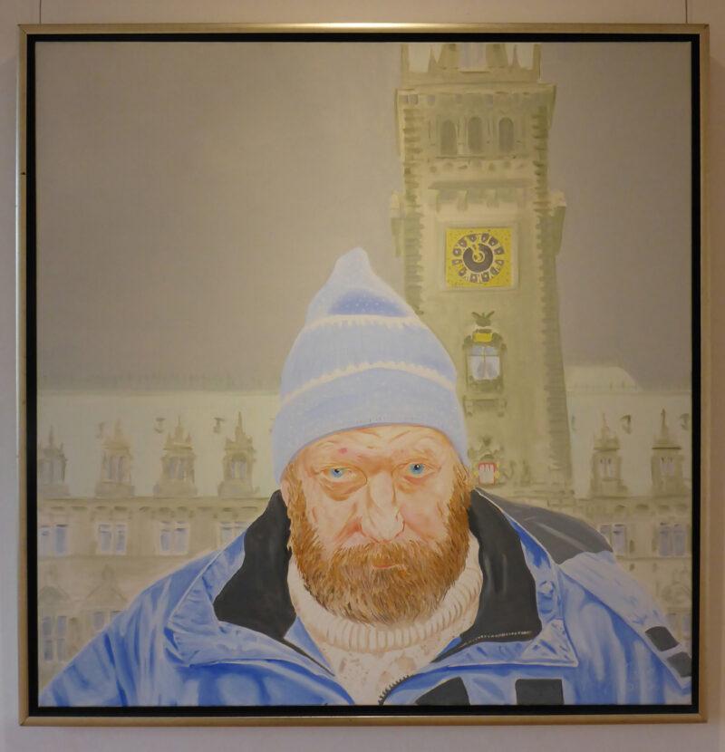 Obdachloser in Hamburg Bild der Ausstellung Kunst-trotz(t) Armut im Ziegeleimuseum Lage von Hans-Gerhard Meyer