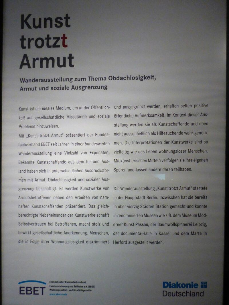 Text über die Ausstellung Kunst-trotz(t) Armut im Ziegeleimuseum Lage