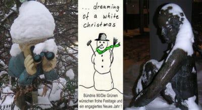 Neugierige Oma im Schnee, große Sitzende und Weihnachtswünsche der Grünen