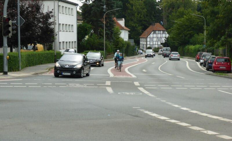 Beispiel für Radwegeführung in Lemgo