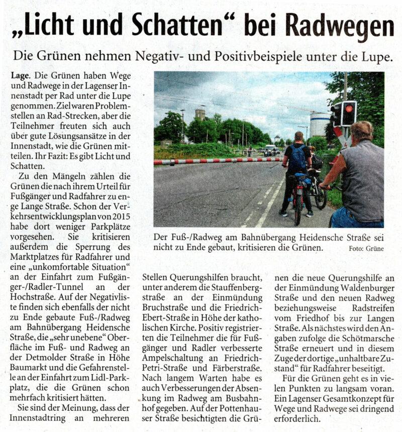 Rad- und Fußwege in Lage - Artikel LZ